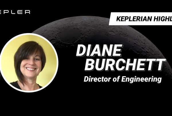 """Background image of the moon's surface with the Kepler logo and text reading """"Keplerian Highlight: Diane Burchett: Director of Engineering"""""""